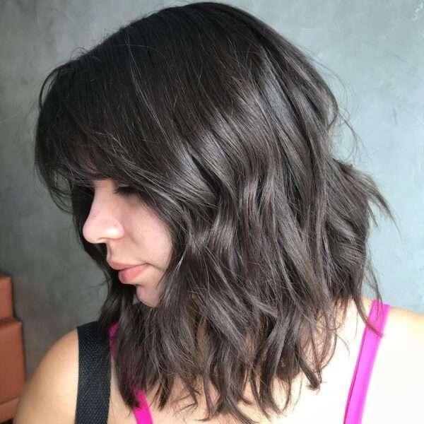 cabello sombreado moderno con flequillo
