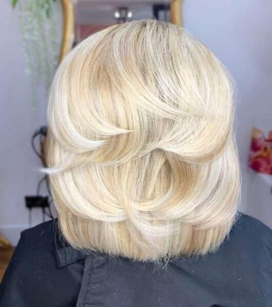 corte de pelo multicapa en cabello liso