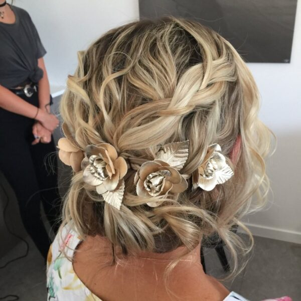 peinados boda media melena trenza