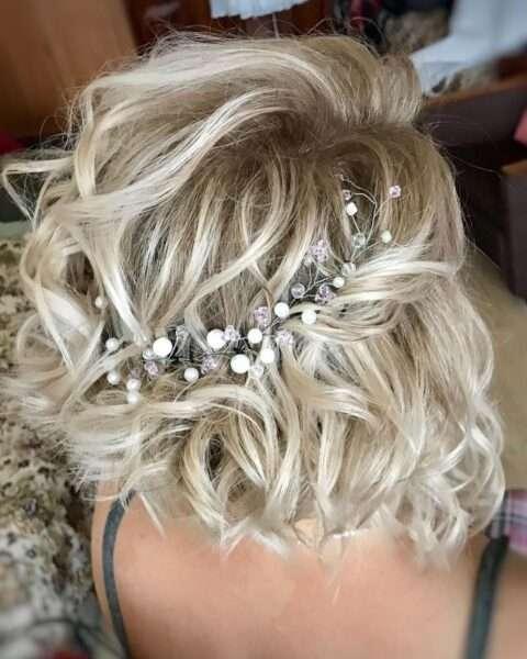 peinados boda pelo rizado corto