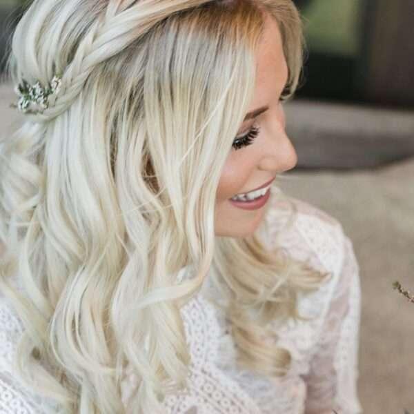 peinados boda trenza media melena