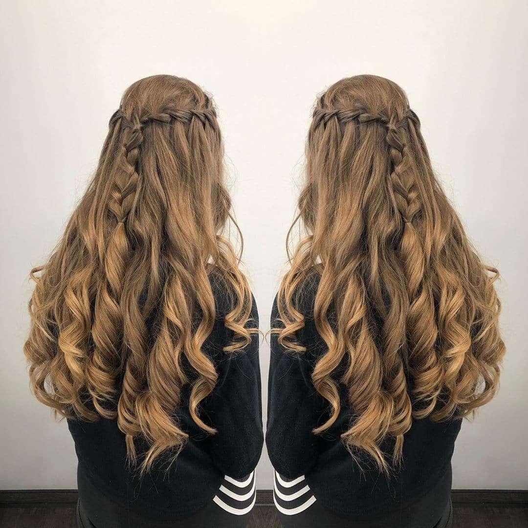fryzura loki i warkocz
