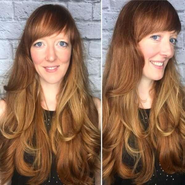 corte de pelo largo con cascadas redondeadas