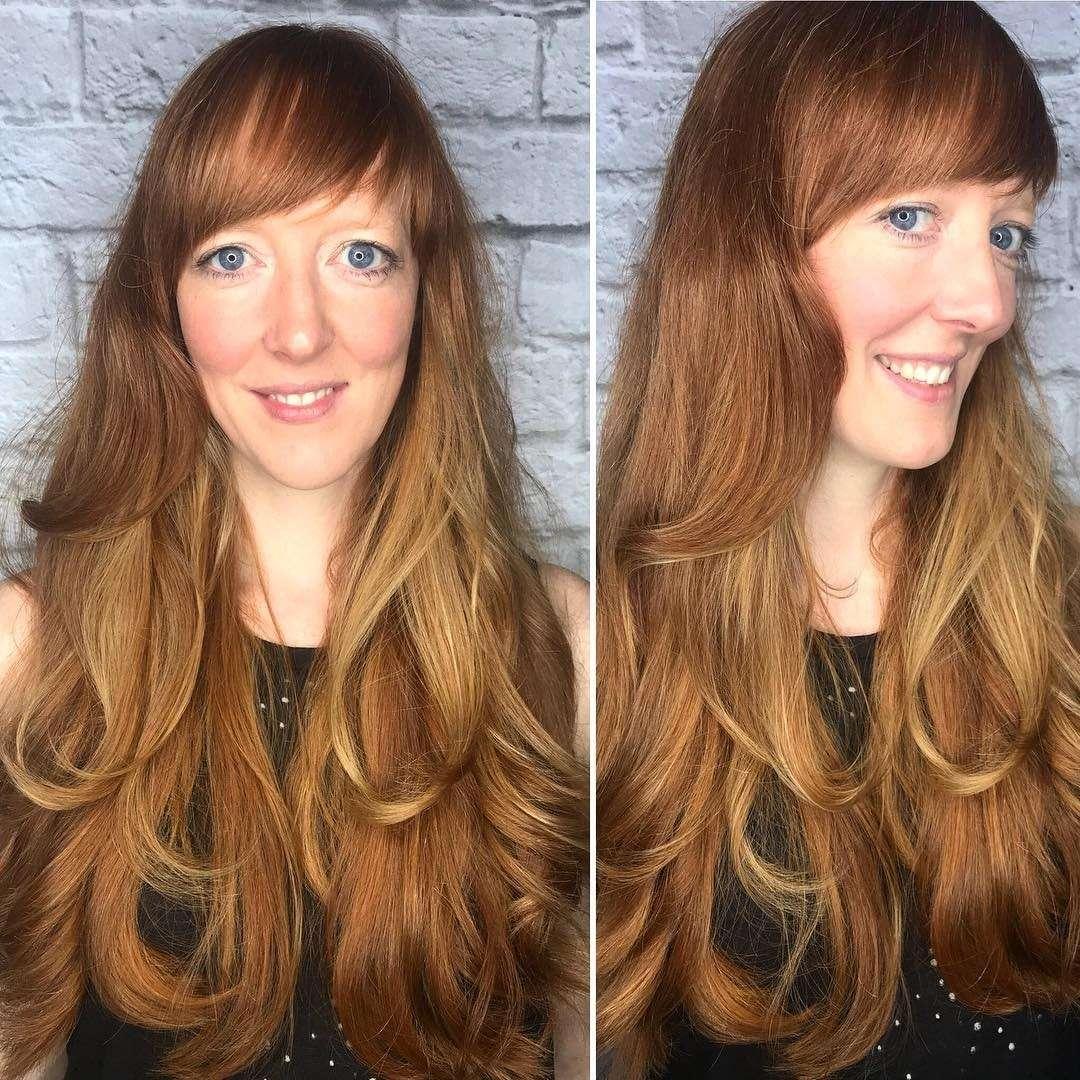 fryzury damskie długie włosy z grzywką na bok
