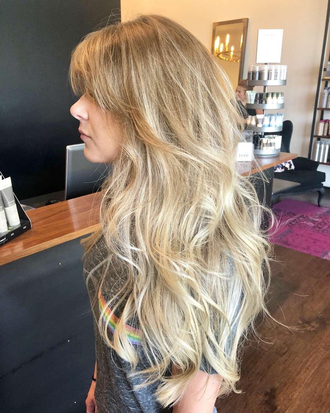 fryzury długie włosy z grzywką na bok cieniowane