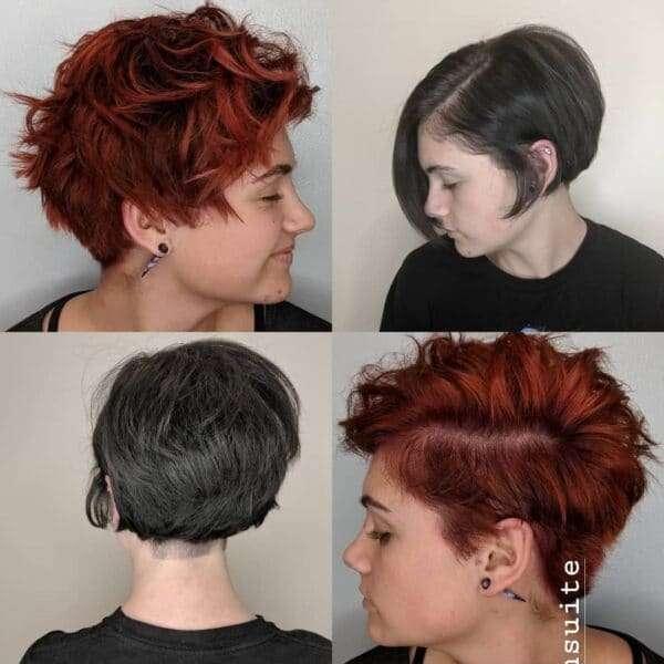 rizos anaranjados y pelo corto a los lados
