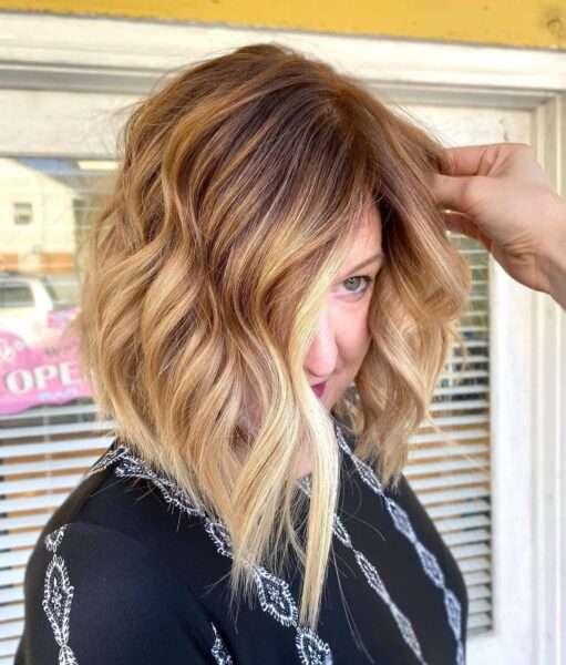 krotkie fryzury blond pasemka