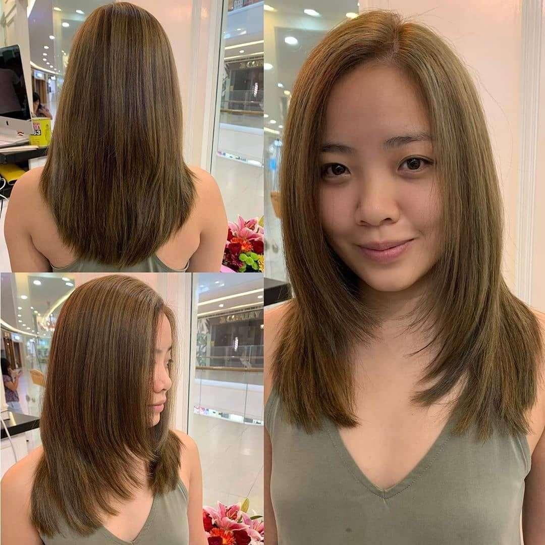 fryzury półdługie cieniowane z grzywką