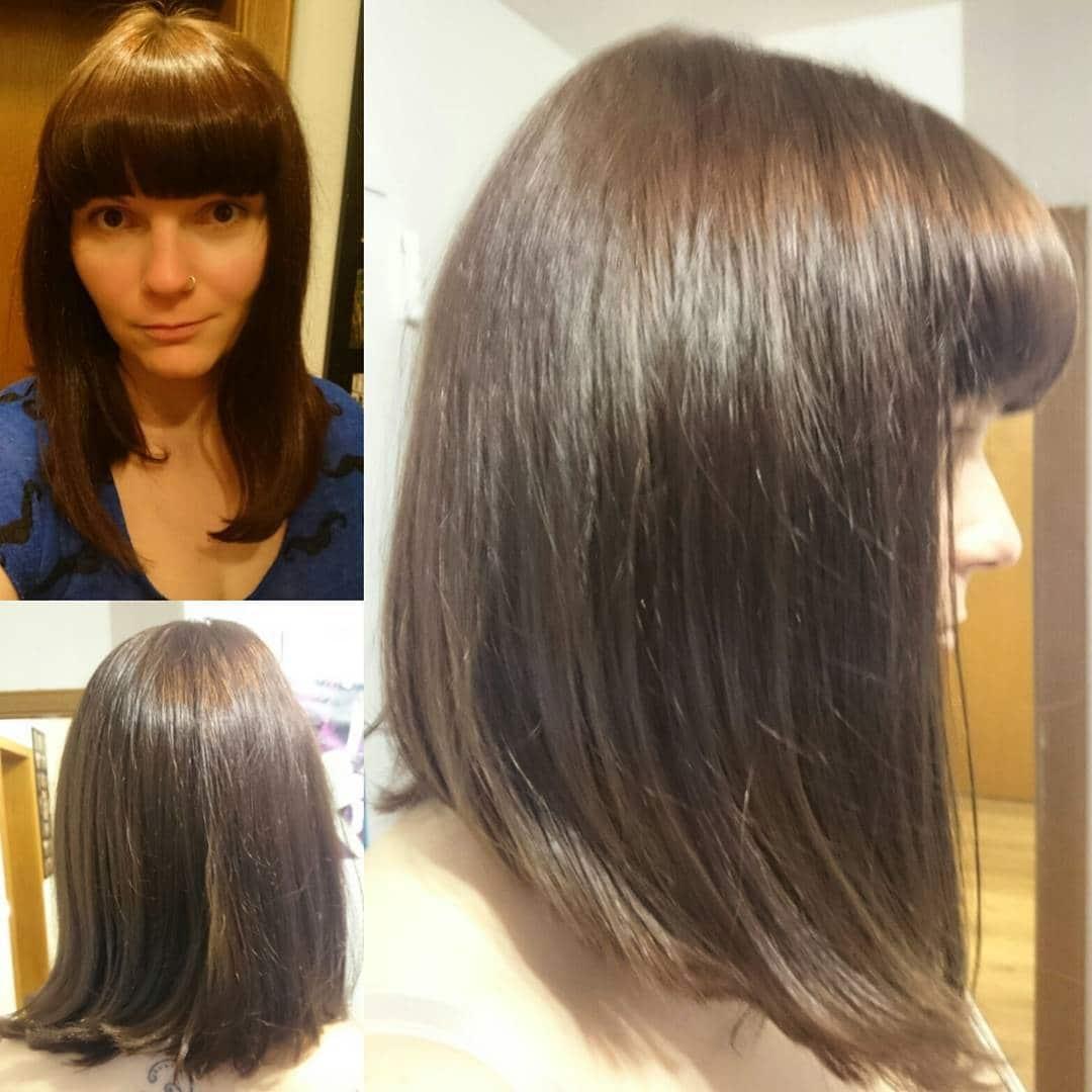 fryzury na półdługie włosy z grzywką